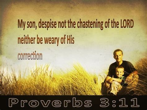 Proverbs 3:11 My son, do not reject the discipline of the