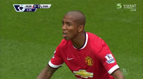 Did a bird poop on Ashley Young's mouth or was it someone