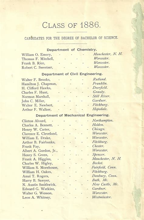 Heirlooms Reunited: 1886 Commencement program of Worcester